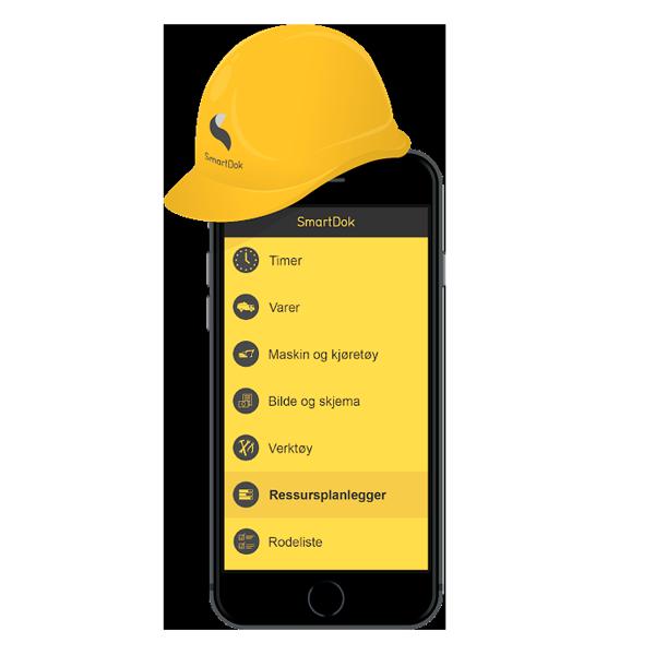 Bilde av mobil med SmartDok hjelm på