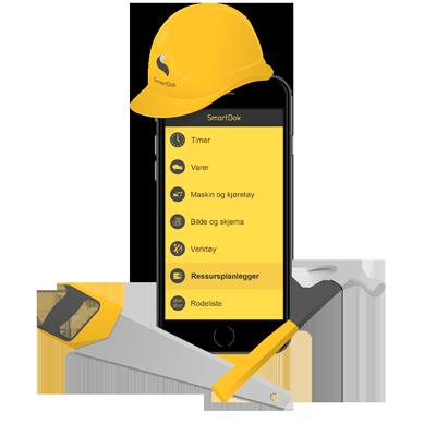 SmartDok mobil med anleggshjelm, hammer og sag