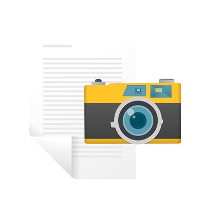 Bilde som viser et fotoapperat og et skjema til Skjema/Bilde-modulen