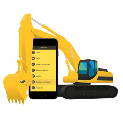 Mobiltelefon SmartDok Gravemaskin